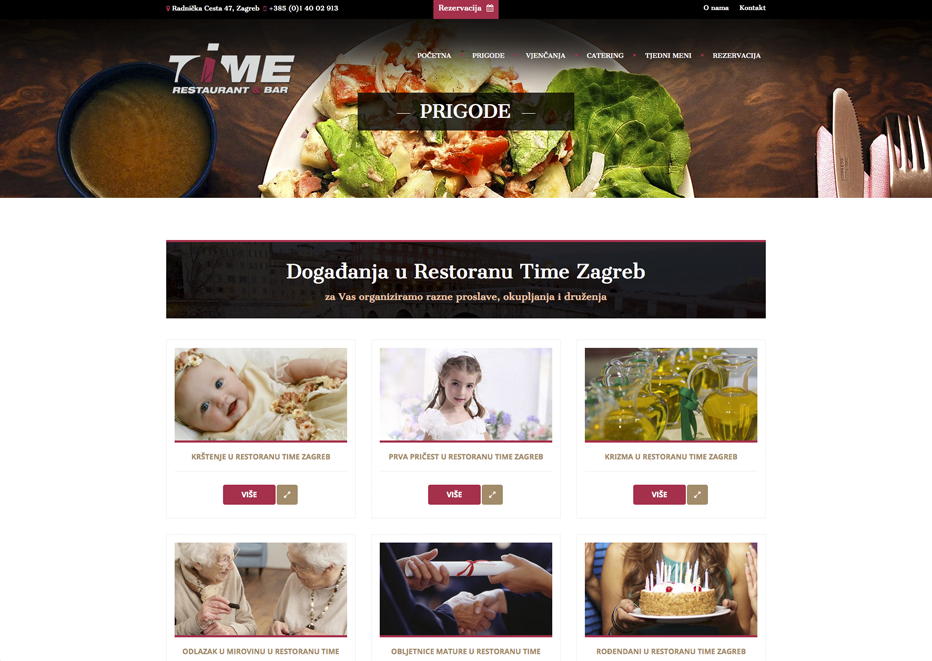 Time-events landing page